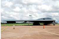 USAF 509th Bomb Wing Northrop B-2A Spirit 82-1068/WM with Vulcan in the background at RIAT Fairford (2012)