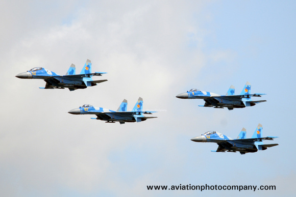 Kazakhstan Air Force Sukhoi Su-27 Formation at KADEX 2012 Almaty