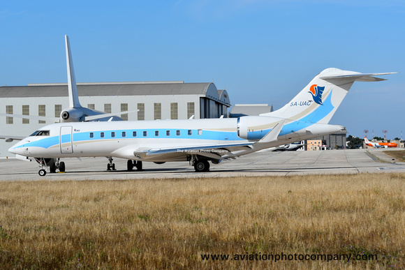 United Aviation Bombardier Global 5000 5A-UAC at Malta Luqa (2017)