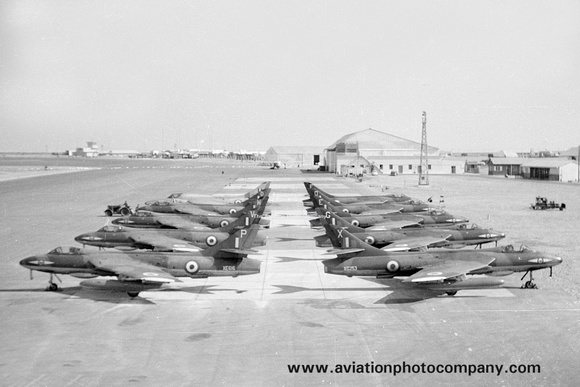 The Aviation Photo Company: Latest Additions &emdash; RAF 1 Squadron Hawker Hunter F.6 lineup at RAF El Aden (1962)