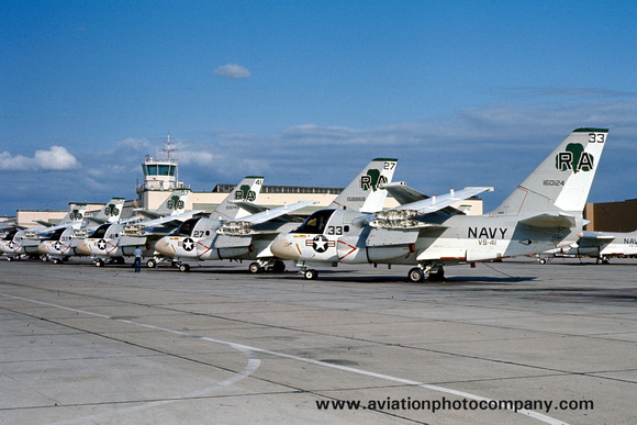 The Aviation Photo Company: S-3 Viking (Lockheed) &emdash; USN VS-41 Lockheed S-3A Viking lineup at NAS North Island (1979)