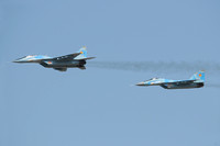 "Kazakhstan Air Force Mikoyan MiG-29UB ""41"" and MiG-29A ""20"" in formation at KADEX 2012, Almaty"