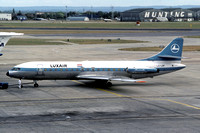 Luxair Sud Caravelle LX-LGF at Heathrow (1975)