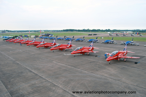 The Aviation Photo Company: Latest Additions &emdash; RAF Red Arrows on the ramp at RIAT Fairford (2014)