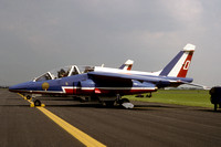 French Air Force Patrouille de France Dassault Alphajet E63/0 at the Mildenhall Air Fete (1988)