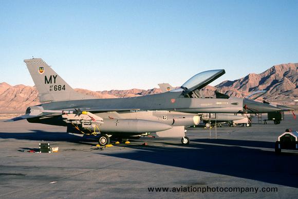 The Aviation Photo Company: GD F-16 Fighting Falcon &emdash; USAF 347 TFW 68 TFS GD F-16A 81-0684/MY at Nellis AFB (1990)