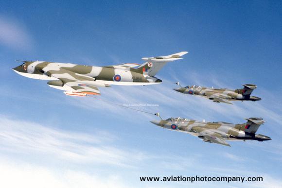 The Aviation Photo Company: Buccaneer (Blackburn) &emdash; RAF 57 Squadron Handley Page Victor K.2 XL164 with two 12 Squadron Blackburn Buccaneer S.2s