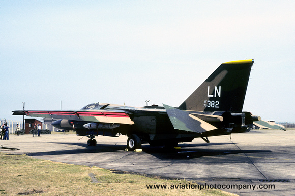 The Aviation Photo Company: F-111/EF-111 Aardvark/Raven (General Dynamics) &emdash; USAF 48 TFW 493 TFS General Dynamics F-111F 70-2382/LN at Lakenheath (1980)